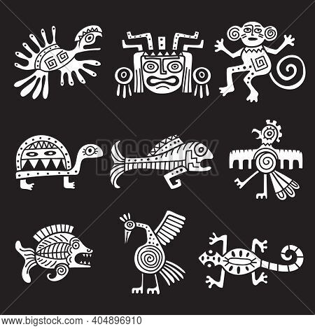 Ancient Mexican Symbol. Aztec Tribal Traditional Symbols Ornamental Animals Mayan Objects Recent Vec