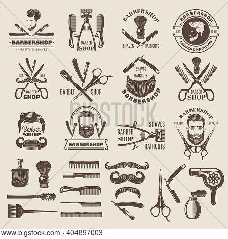 Barber Shop Badges. Scissors Combs Brush Blade Hair Dryer Recent Vector Logos For Barber Shops. Barb