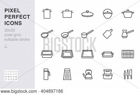 Cookware Line Icon Set. Kitchen Equipment Cooker Pan Pot, Frying Griddle, Lid, Knife Grater Minimal