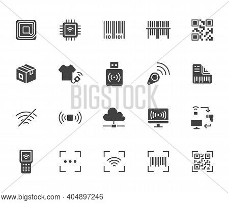Rfid, Qr Code, Barcode Flat Icon Set. Price Tag Scanner, Label Reader, Identification Microchip Blac