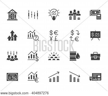 Investment Flat Icon Set. Stock Market, Bond, Financial Analysis, Broker, Income Increase Black Mini