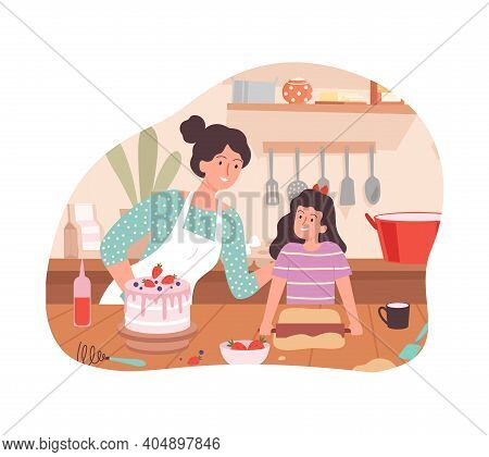 Mother And Daughter Cooking. Family Time, Happy Woman And Girl Bake Birthday Cake Vector Concept. Il