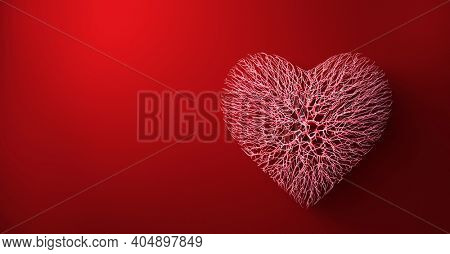 Heart made of veins or red wires connected. Valentine's day and love. 3D illustration