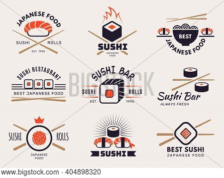 Sushi Bar Logo. Badges Graphic Templates With Stylized Illustrations Of Seafood For Asian Traditiona