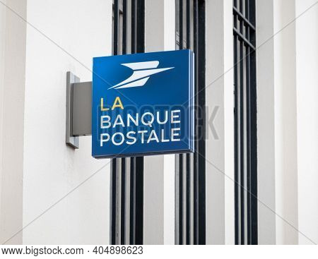 BAYONNE, FRANCE - CIRCA DECEMBER 2020: La Banque Postale sign. La Banque Postale is a French bank created on 1 January 2006.