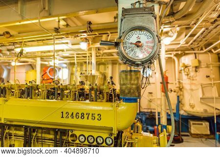 Moscow, Russia - September 21, 2020: Engine compartment of retro cruise liner Borodino. Full forward on the control panel.