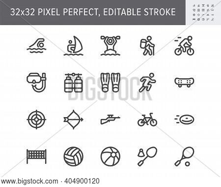 Summer Sport Simple Line Icons. Vector Illustration With Minimal Icon - Beach Games, Kayak, Badminto