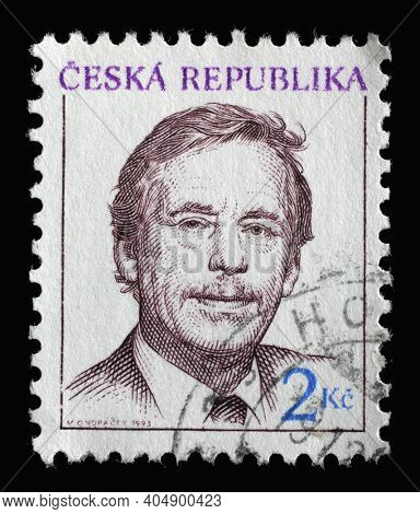 ZAGREB, CROATIA - SEPTEMBER 03, 2014: Stamp printed in Czech Republic shows Vaclav Havel - Czech writer and statesman, 1st President of the Czech Republic, circa 1993