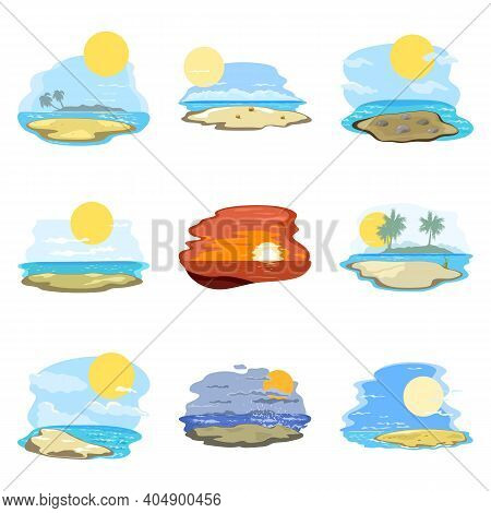 Collection Of Summer Landscape, Beach And Coastline With Ocean, Sunbathing And Relax On Vacation. Ve
