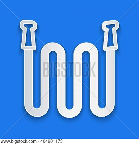 Paper Cut Garden Hose Icon Isolated On Blue Background. Spray Gun Icon. Watering Equipment. Paper Ar