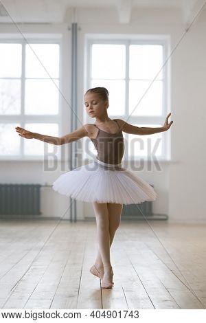 Little ballerina in tutu dress practicing ballet in dance studio