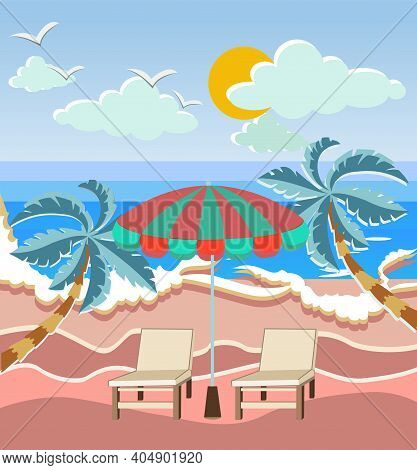 Vector Illustration Of Summer Vacation Loungers And Beach Umbrella On The Sand Coast. Beautiful Seas