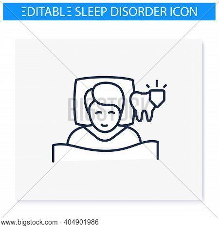 Dental Guard Line Icon. Teeth Grinding Treatment. Sleep Disorder. Healthy Sleeping Concept. Sleep Pr