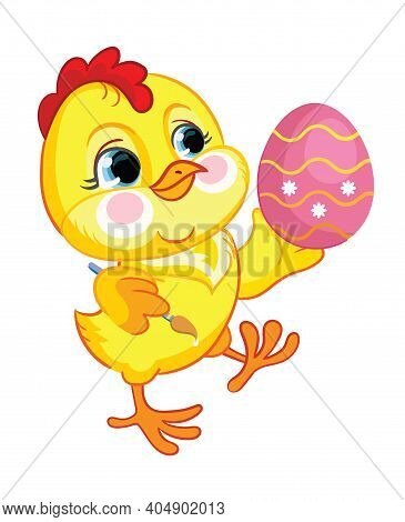 Funny Cartoon Chicken Paint Easter Egg. Cute Animal. Vector Illustration For Postcard, Posters, Nurs