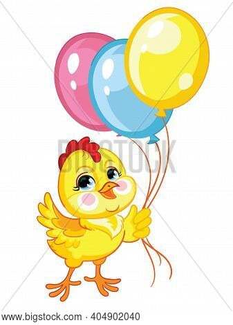 Funny Cartoon Chicken With Balloons. Cute Animal. Vector Illustration For Postcard, Posters, Nursery