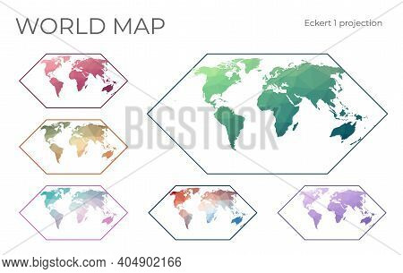 Low Poly World Map Set. Eckert I Projection. Collection Of The World Maps In Geometric Style. Vector