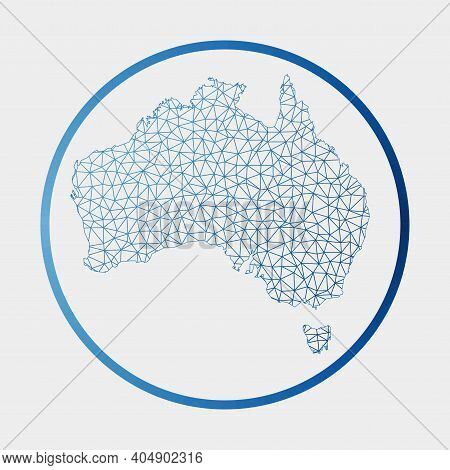 Australia Icon. Network Map Of The Country. Round Australia Sign With Gradient Ring. Technology, Int