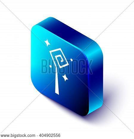 Isometric Magic Staff Icon Isolated On White Background. Magic Wand, Scepter, Stick, Rod. Blue Squar