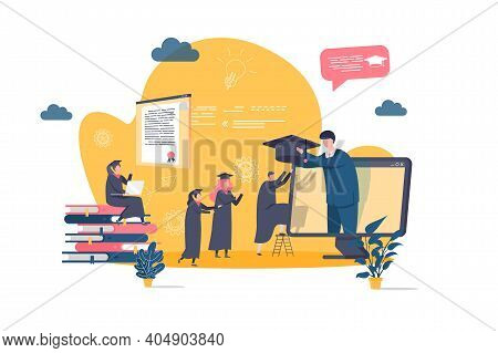 Online Education Concept In Flat Style. Graduating Student Gets Diploma Online Scene. Distance Learn