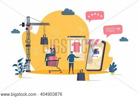 Online Shopping Concept In Flat Style. Customer Shopping By Smartphone Scene. Web Solution For Onlin