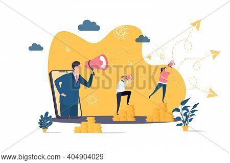 Referral Marketing Concept In Flat Style. Marketer Announce In Megaphone Scene. Promoting In Social