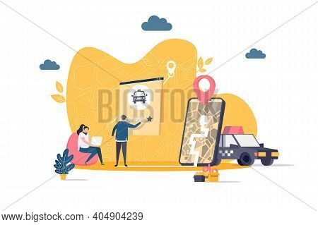 Taxi Service Concept In Flat Style. Man Ordering Taxi Online Scene. Taxi Web Application, Booking Se