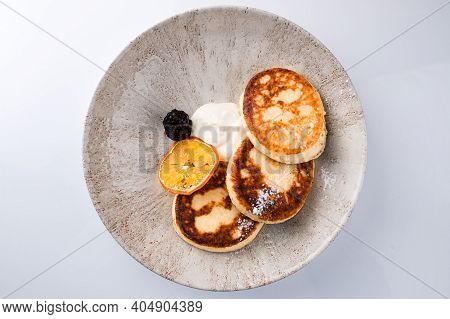 Ricotta Pancakes, Syrniki Cottage Cheese Pancakes, Fritters Of Cottage Cheese Healthy Breakfast