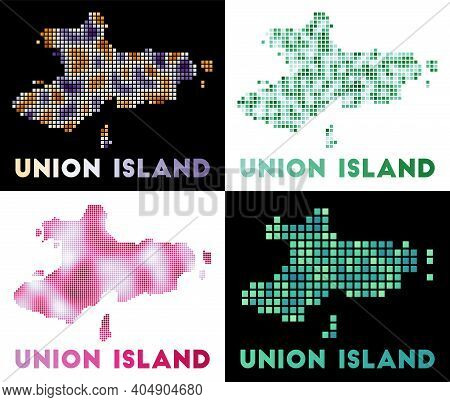 Union Island Map. Collection Of Map Of Union Island In Dotted Style. Borders Of The Island Filled Wi