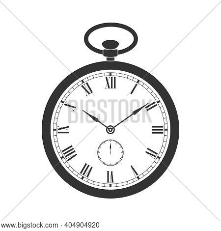 Pocket Watch Graphic Icon. Vintage Watch Sign Isolated On White  Background. Vector Illustration