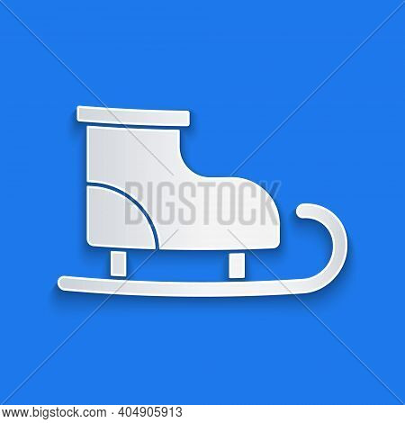 Paper Cut Figure Skates Icon Isolated On Blue Background. Ice Skate Shoes Icon. Sport Boots With Bla