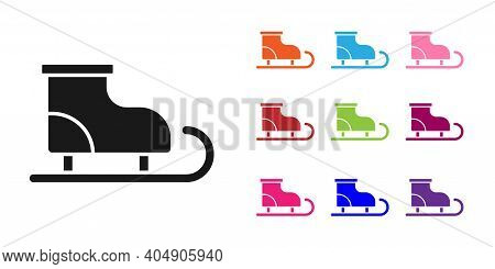 Black Figure Skates Icon Isolated On White Background. Ice Skate Shoes Icon. Sport Boots With Blades