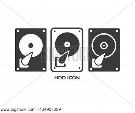 Hdd Icon. Hard Drive Icon Isolated On White Background. Vector Illustration..