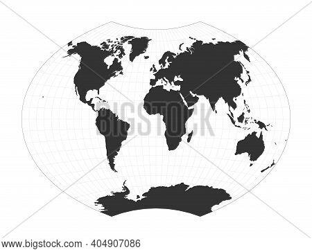 Map Of The World. Ginzburg Vi Projection. Globe With Latitude And Longitude Net. World Map On Meridi