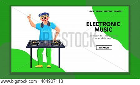 Electronic Music Performing Disk Jockey Vector Illustration