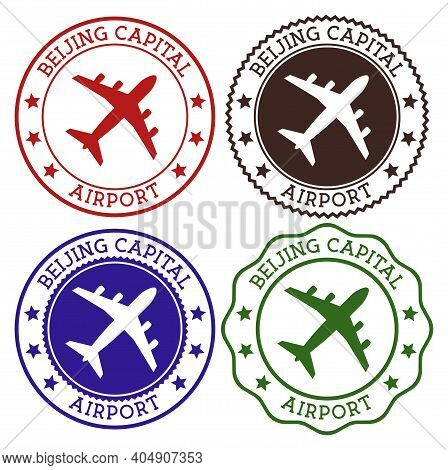 Beijing Capital Airport. Beijing Airport Logo. Flat Stamps In Material Color Palette. Vector Illustr
