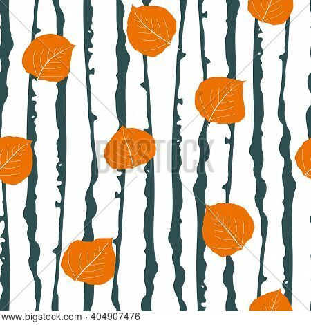 Orange Aspen Leaf Forest Seamless Vector Pattern Background. Beautiful Hand Drawn Leaves In Fall Col
