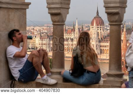 Budapest, Hungary - August 25, 2019: Focus at parliament building. View at Hungarian parliament building from Fisherman bastion in Budapest, Hungary. Focus at parliament building