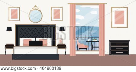 Luxurious Bedroom, Large Bed With A Headboard And Bedside Table. Hotel Room Suite. Interior Design I
