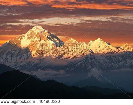 Mount Dhaulagiri, Evening Sunset View Of Mount Dhaulagiri, Himalayas, Nepal