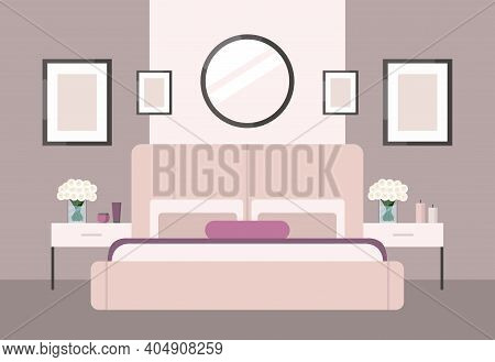 Luxurious Bedroom In A Classic Style, Large Pink Bed With A Headboard, Bedside Table, Roses. Hotel R