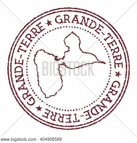 Grande-terre Round Rubber Stamp With Island Map. Vintage Red Passport Stamp With Circular Text And S
