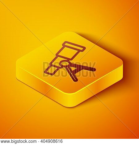 Isometric Line Telescope Icon Isolated On Orange Background. Scientific Tool. Education And Astronom