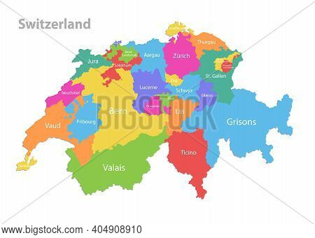 Switzerland Map, Administrative Division, Separate Individual Regions With Region Names, Color Map I