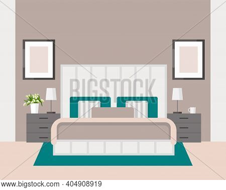 Luxurious Bedroom In A Classic Style, Large Bed With A Headboard, Bedside Table, Lamp. Hotel Room Su