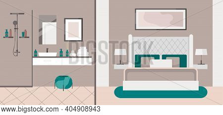 Luxurious Bedroom With Bathroom In A Classic Style, Large Bed With A Headboard, Bedside Table, Lamp,