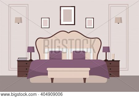 Luxurious Bedroom In A Classic Style, Large Bed With A Headboard, Bedside Table, Lamps. Hotel Room S