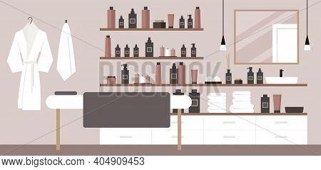 Spa Salon Interior. Modern Bathroom. Deluxe Hotel, Massage, Suite. Lights, Chandelier, Towels, Bathr