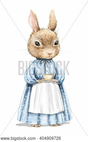 Watercolor Vintage Girl Bunny Rabbit In Blue Dress Holding Saucer And Cup Of Tea Isolated On White B
