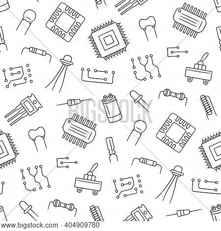 Seamless Pattern From Electrical Components. Microchip, Diode, Transistor Capacitor, Resistor. Compu