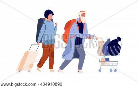 Homeless Characters. Refugee Man Woman, Poor People With Things. Vagabonds Family, Old Male And Youn